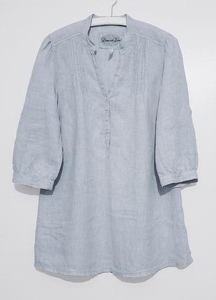 Льняная женская серая удлиненная рубашка туника лен