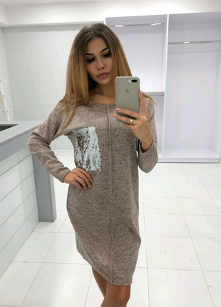 Туника/платье ангора с пайетками