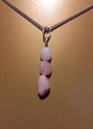 Новый кулон розовый опал 3 натуральный камень минерал подарок
