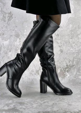Ботфорты женские черные Precious 2389