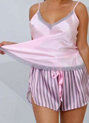 Женская шёлковая пижама майка шорты турция атласная пижама турция