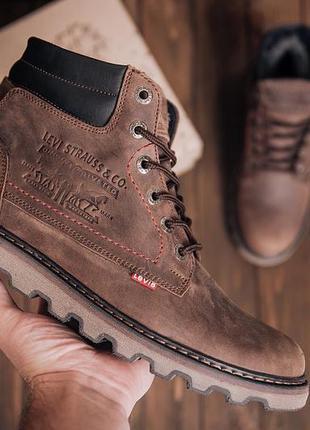 Мужские зимние кожаные ботинки levis