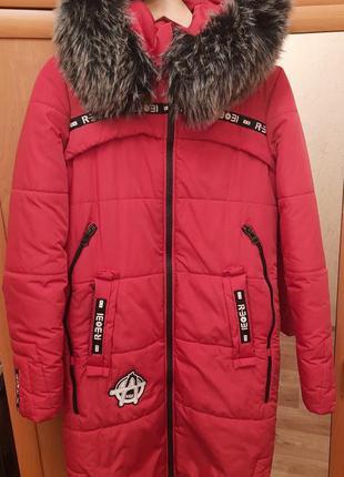 Длинная зимняя женская куртка с мехом на силиконе oazis красная