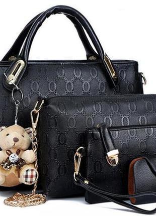 Набор женский сумка, клатч, косметичка и визитница черные код ...