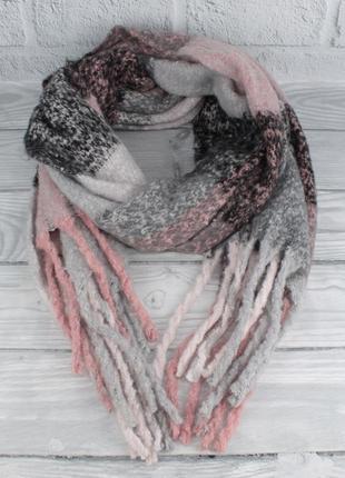 Объемный мохеровый шарф-плед, палантин ginoer 7780-10 клетка, ...