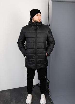 Мужская Зимняя удлинённая Куртка +Утеплённые Штаны + шапка в под.