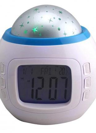 Музыкальный ночник-проектор звездное небо 1038 с часами и будильн