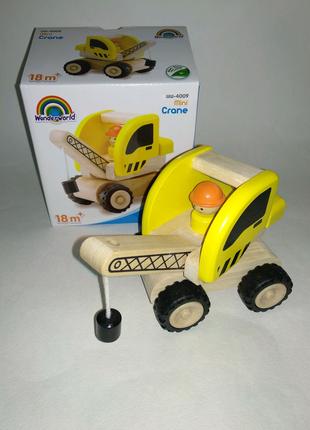 Машинка грузовик подъемный кран дерево wonderworld eco