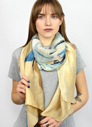 Яркий шелковый шарф палантин беж шоколад темная бирюза в наличии