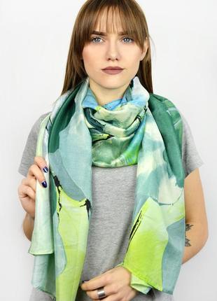 Яркий шелковый шарф палантин зеленый голубой салатовый в наличии