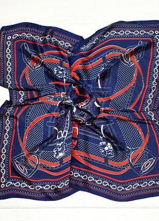 Шелковый шейный платок косынка синий красный в наличии