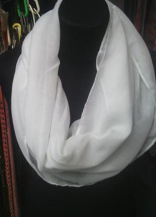 Снуд хомут круговой шарф белый в наличии