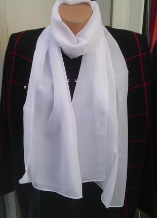Белый шифоновый шарф для невесты для крестин для церкви