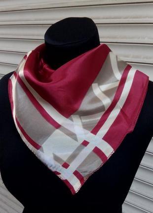Атласный шейный платок косынка красный вишня в наличии