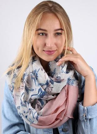 Снуд круговой шарф хомут серый розовый в наличии