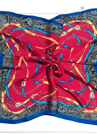 Шелковый платок косынка красный в наличии