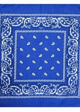 Бандана классика косынка повязка на голову синий электрик в на...