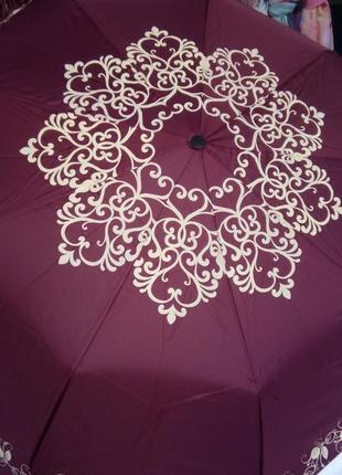 Женский зонт полуавтомат бордовый бордо в наличии