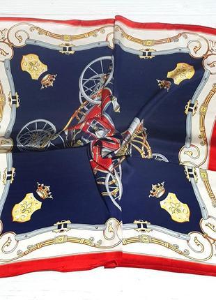 Яркий атласный платок косынка синий красный в наличии
