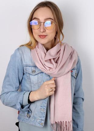 Палантин широкий шарф пашмина пудра нежно розовый в наличии