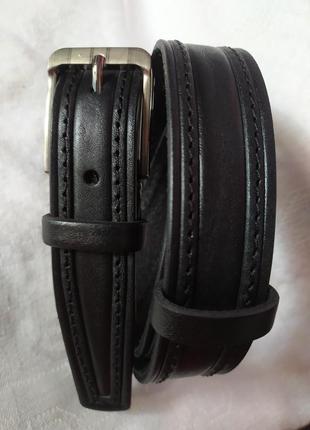 Пояс кожаный детский подростковый ремень черный прошитый в нал...