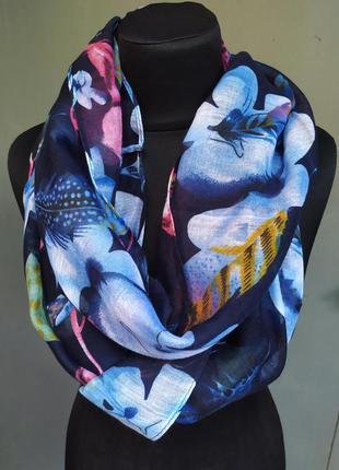 Небольшой снуд хомут круговой шарф индиго синий в наличии