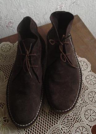 Topman 43 р. брендовые мужские замшевые ботинки