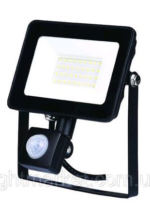 Прожектор светодиодный с датчиком движения чёрный LED 50W 6400К