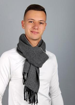 Мужской шарф ёлочка темно серый в наличии