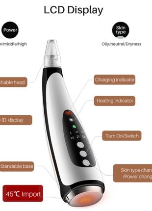 Вакуумный очиститель пор прибор для чистки лица, пилинга и вакуум