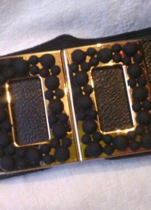 Пояс резинка черная пряжка под золото в наличии