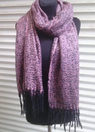 Теплый шарф палантин шаль нежно розовый пудра меланж в наличии
