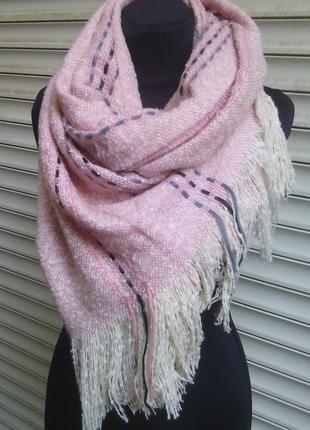Теплый палантин широкий шарф плед шаль меланж нежно розовый в ...