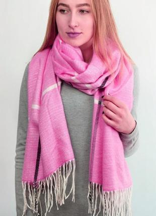 Теплый шарф плед клетка палантин розовый двухсторонний в наличии