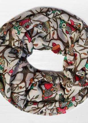 Снуд круговой шарф хомут совушка сова в наличии
