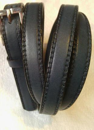Узкий пояс ремешок сине-серый (цвет джинс) со строчкой