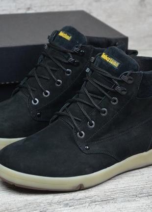 Натуральный нубук мужские зимние кожаные ботинки на шнурках ка...