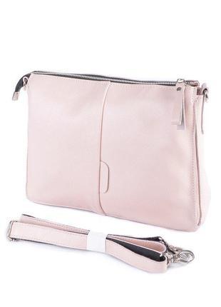 Женская кожаная розовая сумка-клатч большая три отделения чере...