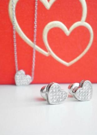 Серьги серебро 925 гвоздики сердце лк0089