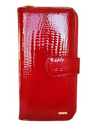 Женский вместительный кожаный кошелек sezfert красный