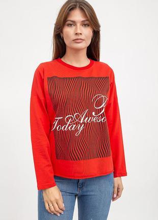 Свитшот женский, красный, трикотажный, обрезной низ ag-0009630...