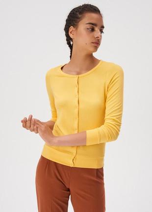 Новая однотонная желтая кофта темно-желтый кардиган польша зас...