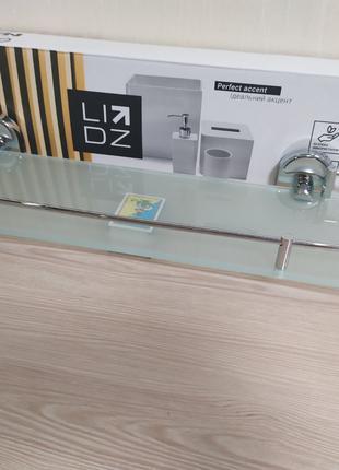 Полочка для ванной стеклянная с ограничителем овальная (52*16 cm)