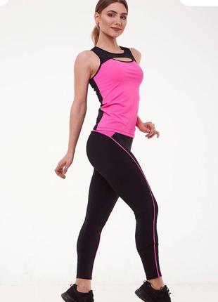 Спортивный костюм для фитнеса майка и лосины