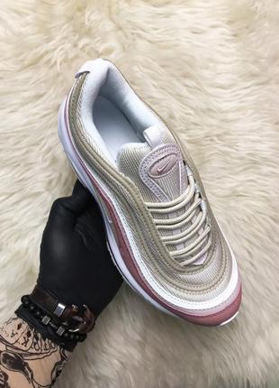 Nike air max 97 pink beige. женские демисезонные кроссовки найк.