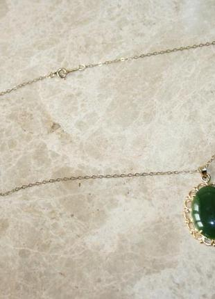 Винтаж  бусы ожерелье позолота нефрит