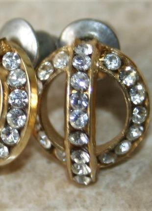 Винтажные серьги под золото бриллианты красивые