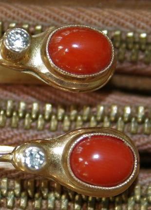 Старинные серьги кораллы бриллианты золото