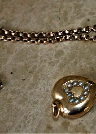 Шикарный старинный золотой кулон с цепочкой золото