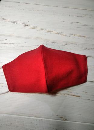 Маска защитная многоразовая двухслойная красная женская